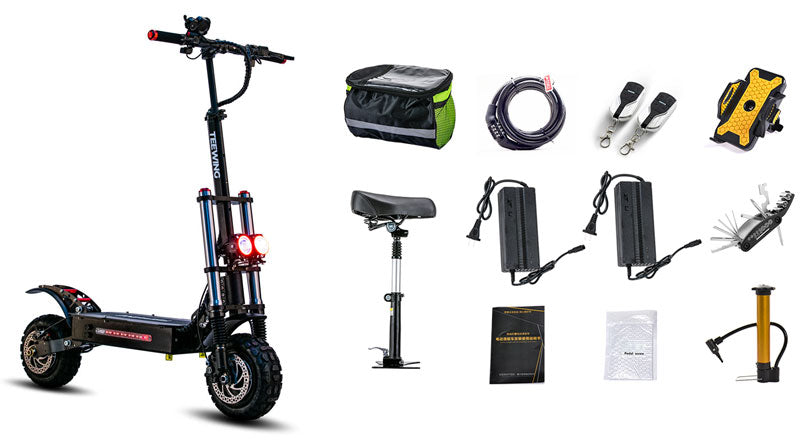 Packing list of nerocycle X4 5600W 60V Dual Motor Electric Scooter with saddle