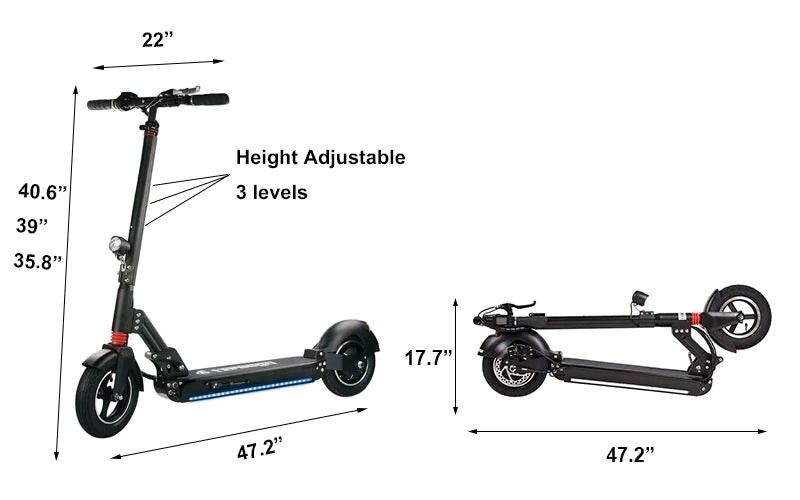 FreeGo 800W 48V 10.4Ah Foldable Electric Scooter with 10-Inch Wheels Dimensions