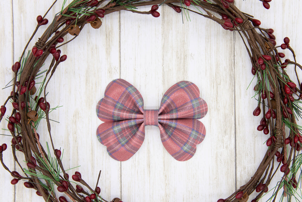 Tartan Plaid Bow, Sparkly Bow, Holiday Bow, Faux Suede, Glitter, Sparkly, Handmade Bows, Gift Idea, Hair Accessory, Girls Accessories