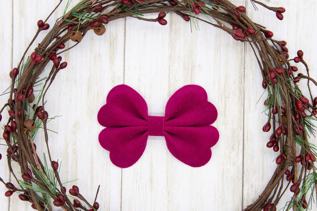 Faux Suede Bow, Burgundy, Classy, Violet Bow, Holiday Bow, Handmade Bows, Faux Suede, Gift Idea, Hair Accessory, Girls Accessories