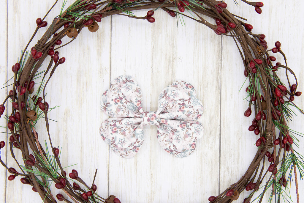 Deer Bow, Floral, Burgundy, Mauve, Teal,  Holiday Bow, Faux Suede, Glitter, Sparkly, Handmade Bows, Gift Idea, Hair Accessory, Girls Accessories