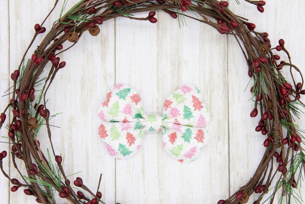 Christmas Tree Bow, Glitter Bow, Sparkly, Green, Red, Pink, White, Winter, Holiday Bow, Handmade Bows, Faux Suede, Sparkly, Gift Idea, Hair Accessory, Girls Accessories