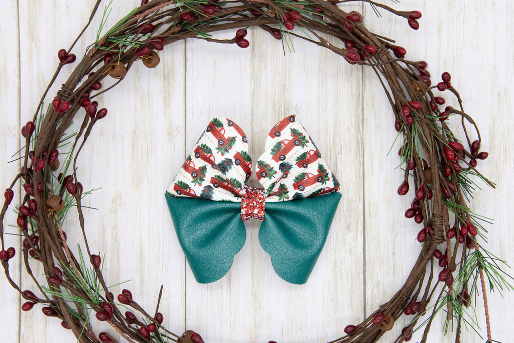 Red Trucks, Handmade Bow, Christmas Bow, Red, Green, Holiday Bow, Vegan Faux Leather, Handmade Bows, Gift Idea, Hair Accessory, Girls Accessories