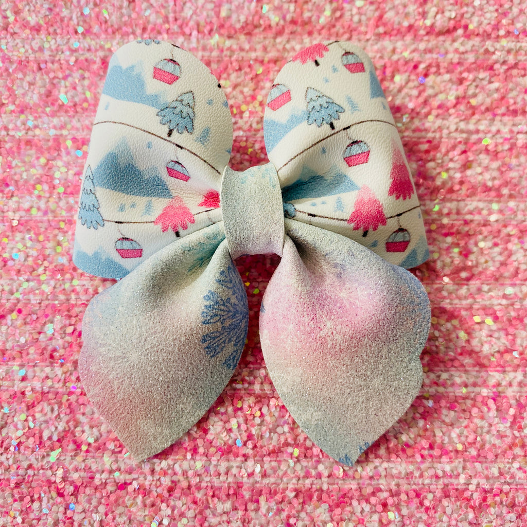 Winter Bow, Hair Bow, Sailor Bow, Hair Accessories, Holiday, Winter, Ski, Gondola, Small Bow, Gift Idea, Children's Hair Accessories