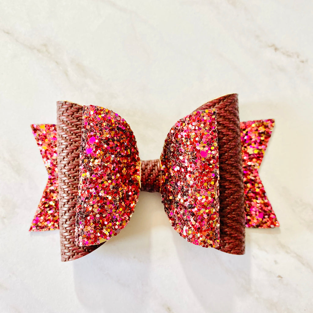 Hair Bow, Winter Bow, Burgundy, Colorful, Sparkly, Glitter, Hair Bow, Handmade Bow, Gift Idea, Hair Accessories, Children's Accessories, Herringbone