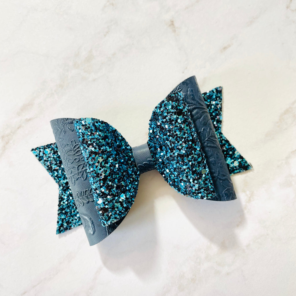 Holiday Bow, Hair Bow, Winter Bow, Navy, Lace, Lace Applique, Colorful, Sparkly, Glitter, Hair Bow, Handmade Bow, Gift Idea, Hair Accessories, Children's Accessories