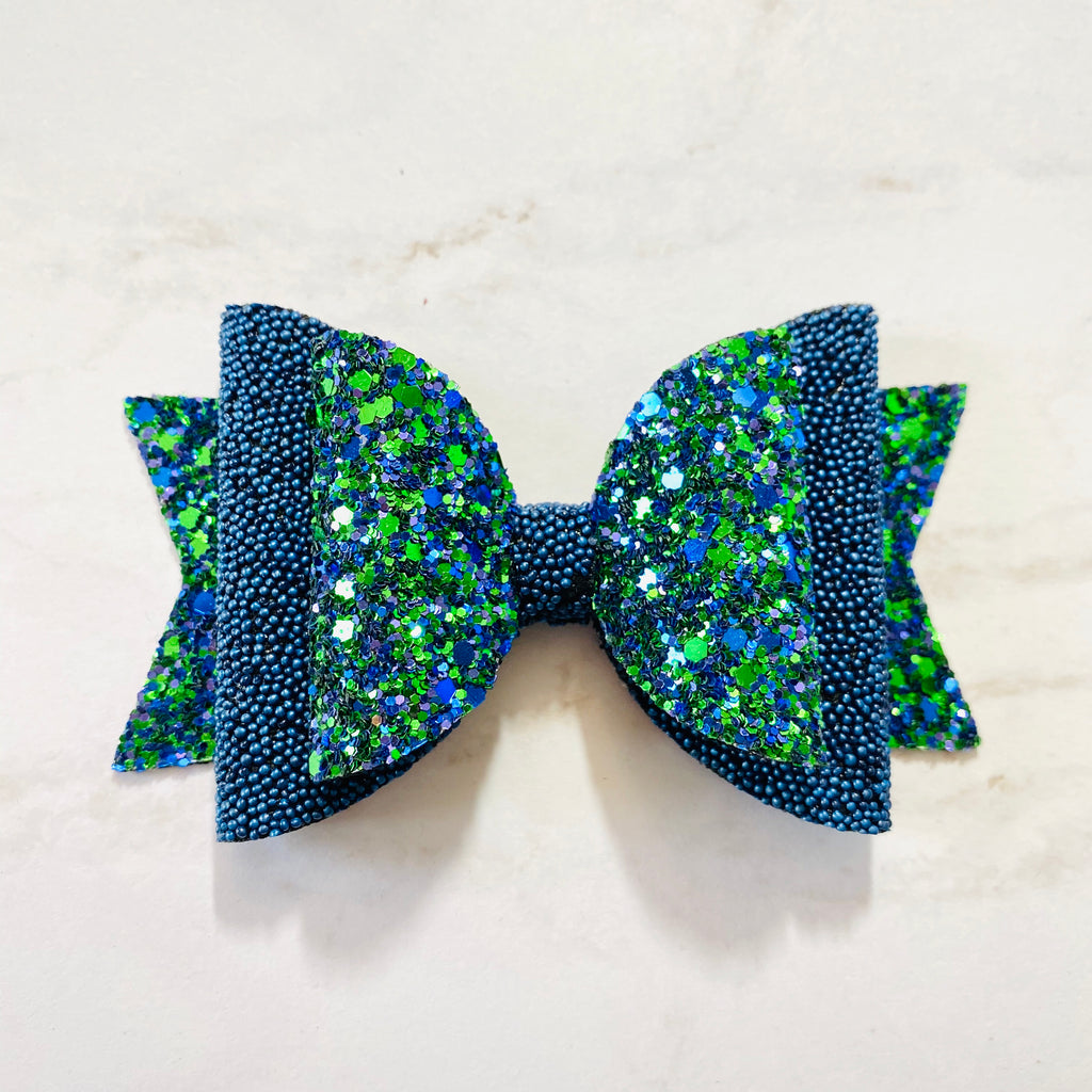 Hair Bow, Winter Bow, Blue, Green, Colorful, Sparkly, Glitter, Hair Bow, Handmade Bow, Gift Idea, Hair Accessories, Children's Accessories