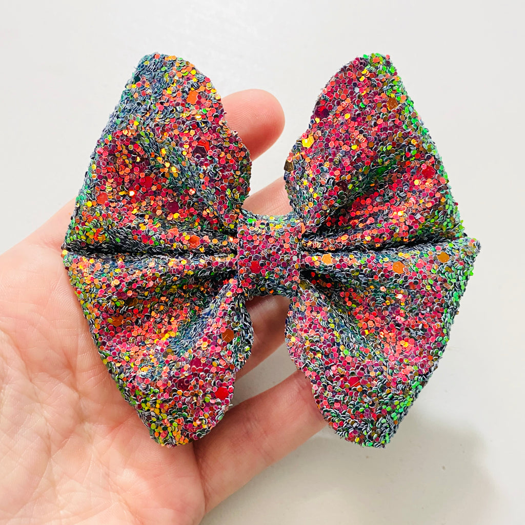 Kaleidoscope Bow, Handmade, Handmade Bows, Hair Accessories, Girls Accessories, Gift Ideas, Colorful, Rainbow, Transition, Unique, Scalloped