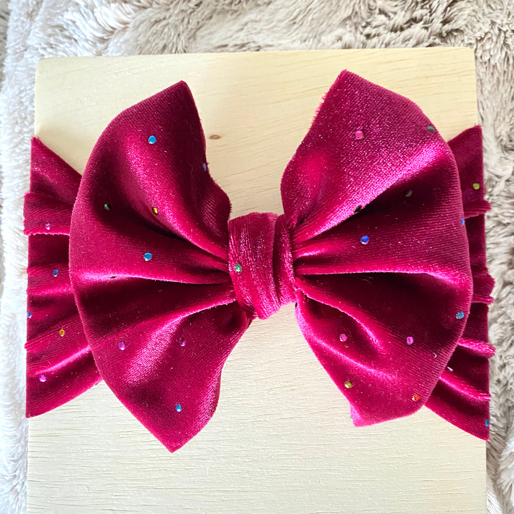Burgundy Velvet Bow Headwrap