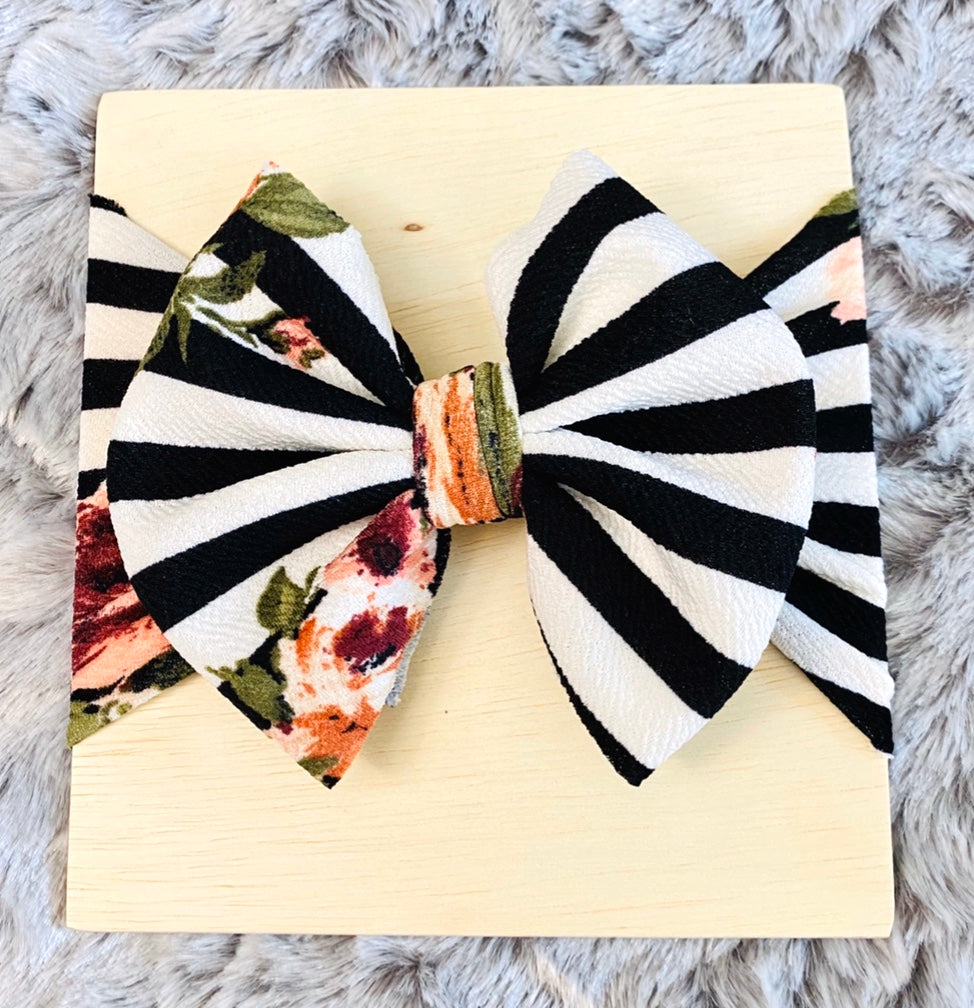 Striped Floral Bow