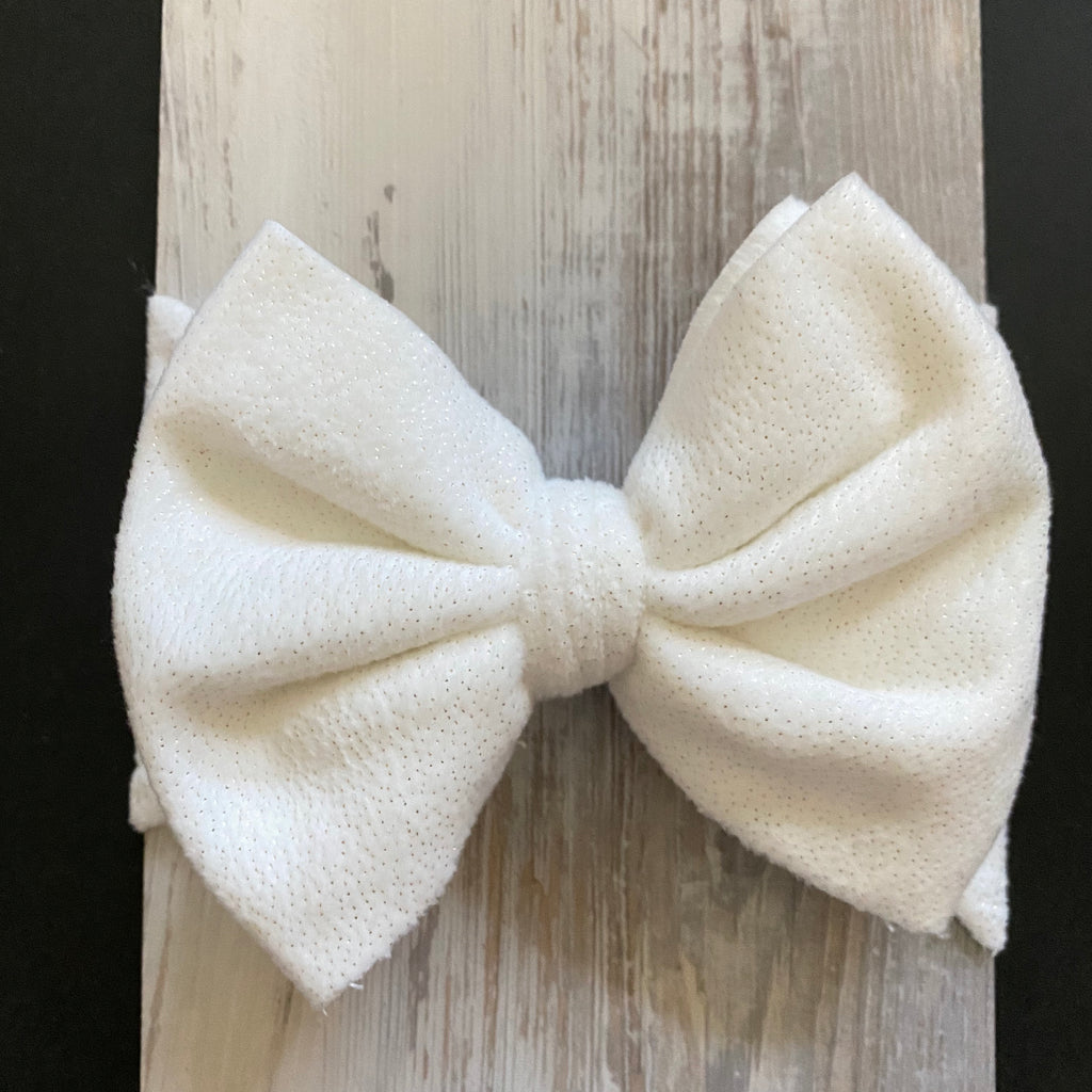 White With Gold Flecks, Lush Plush, Headwrap, Bow Headwrap, Girls Accessories