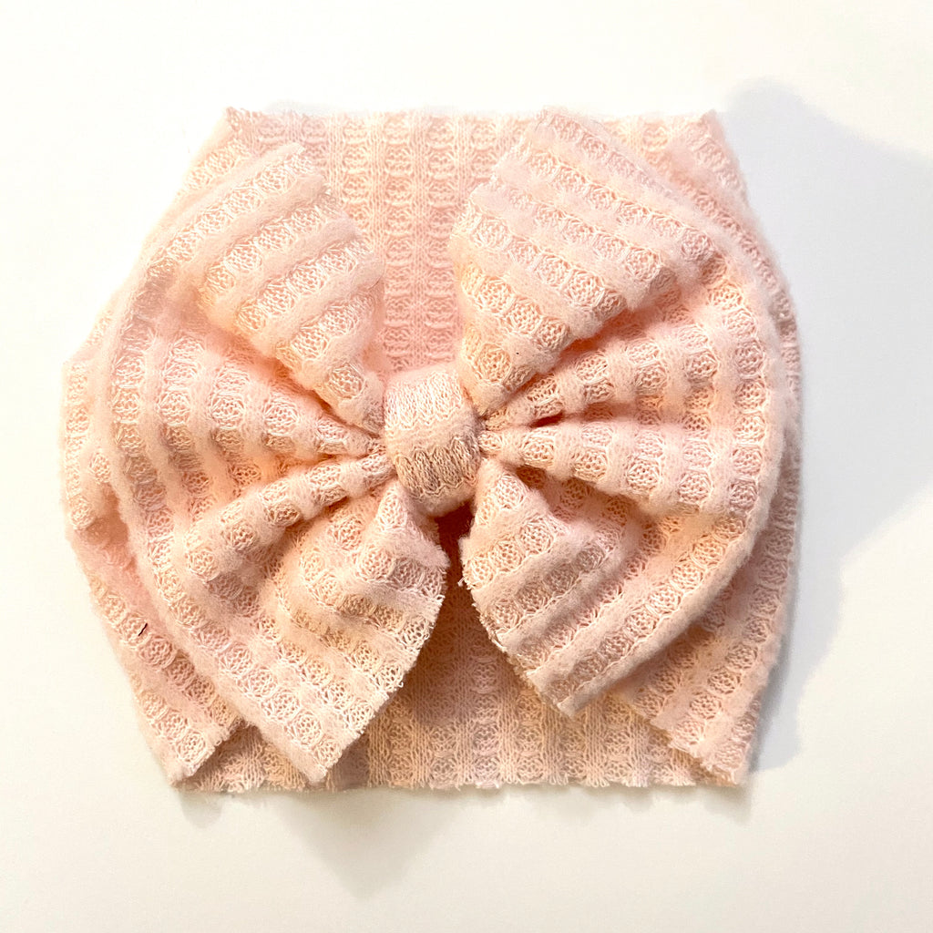 Pink Waffle Knit Bow, Headwrap, Nylon, Alligator Clip