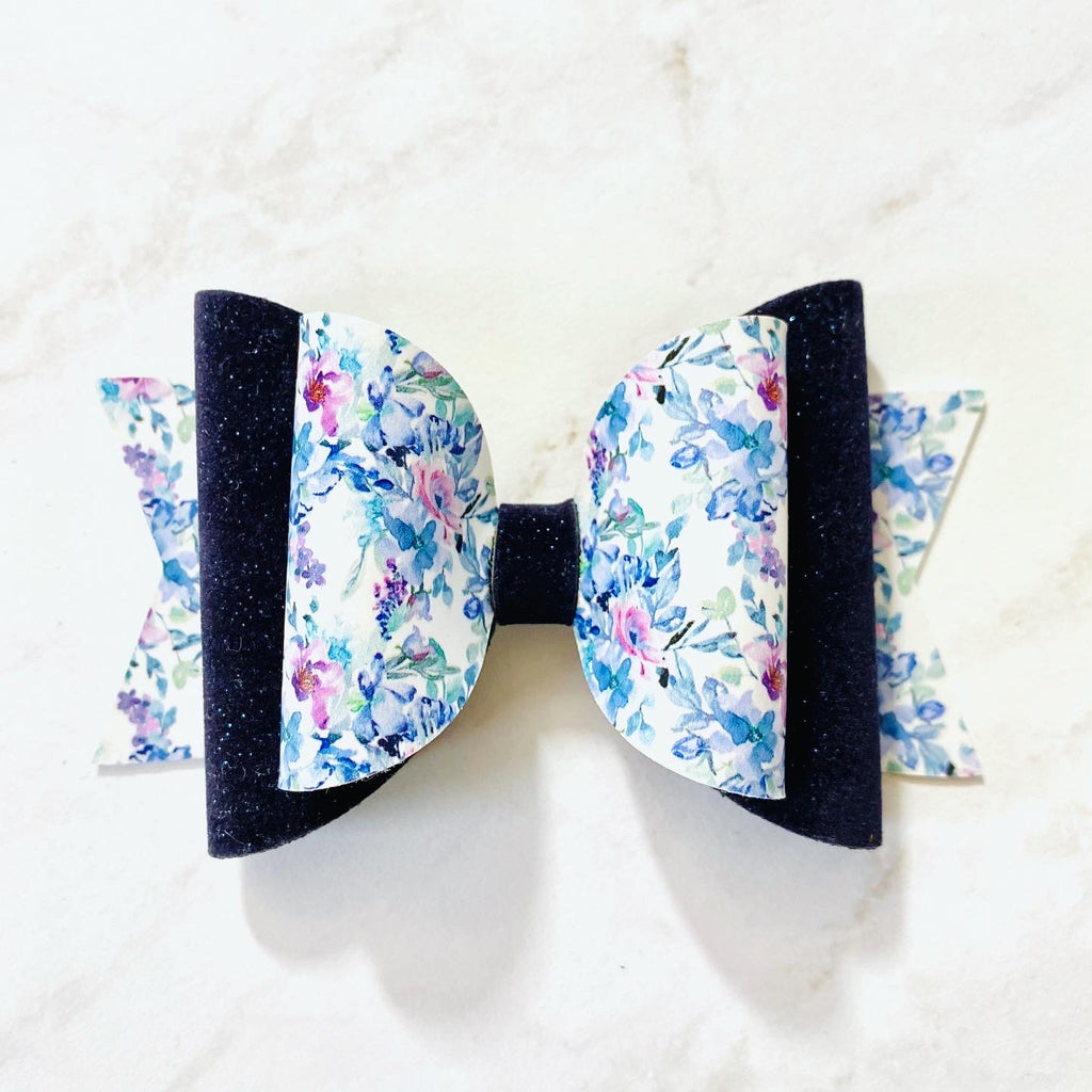 Hair Bow, Winter Bow, Blue, Velvet, Floral, Colorful, Sparkly, Glitter, Hair Bow, Handmade Bow, Gift Idea, Hair Accessories, Children's Accessories