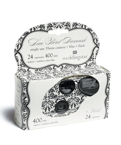 50 x Single Use Camera - Love Bird Damask Design