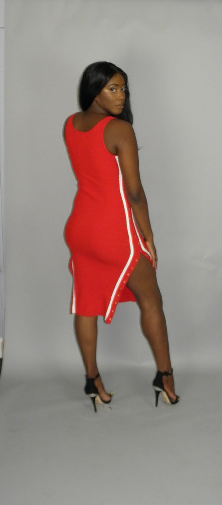 Button  Me Up Red Dress