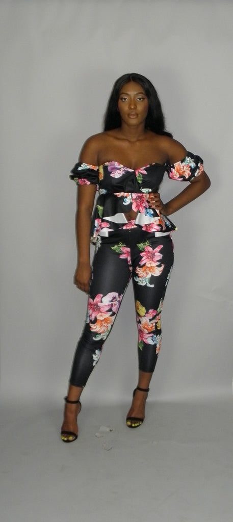 Black Daisy Pants Set