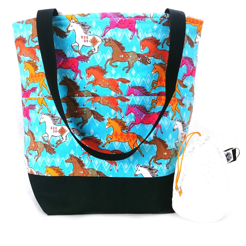 Studio Plus Tote & Tot - Wild Horses (Flannel):Studio Plus Tote,Slipped Stitch Studios:Slipped Stitch Studios