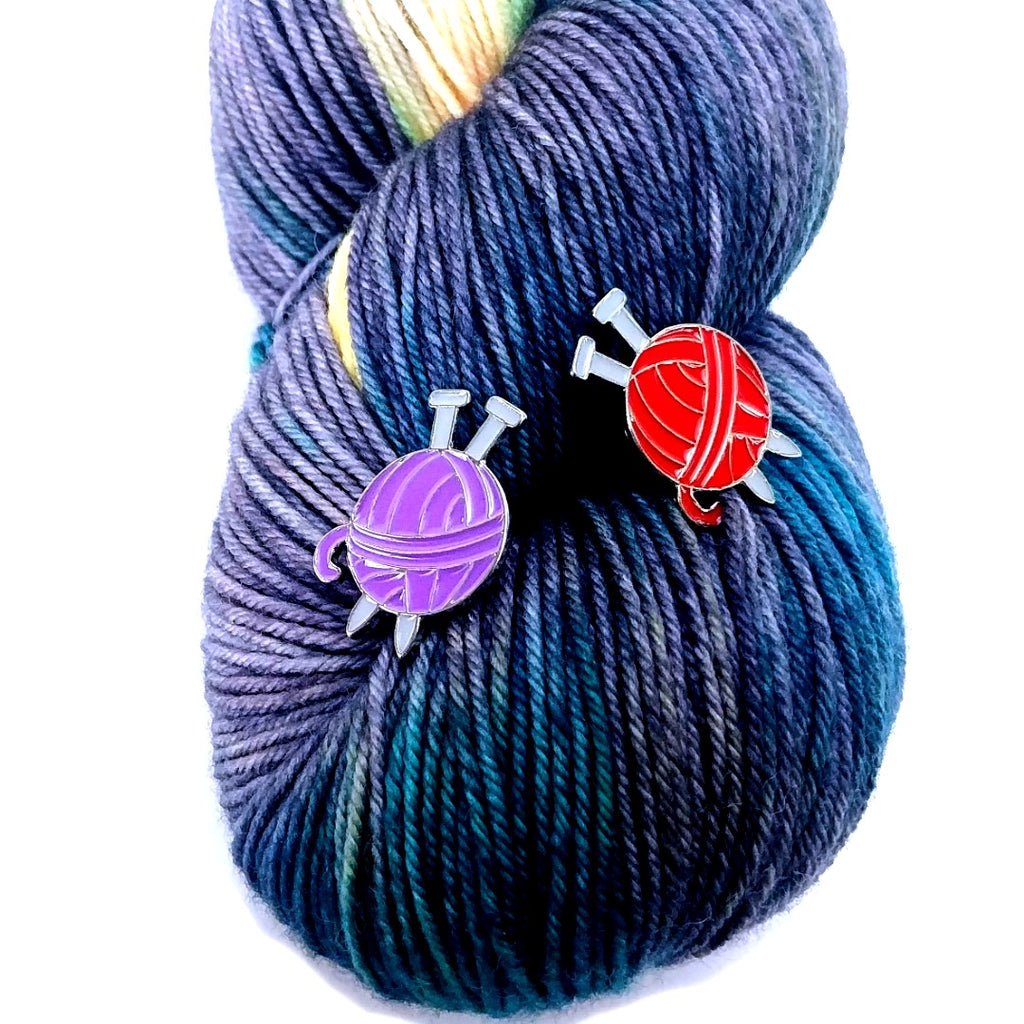 Enamel Pin - Yarn Ball (Purple or Red):Pins,Slipped Stitch Studios:Slipped Stitch Studios