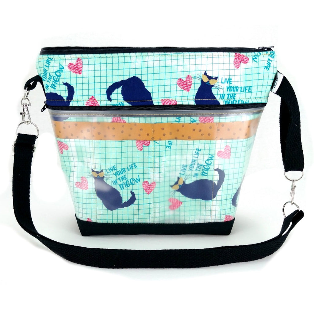 Go Crafty Travel Case - Live Your Life in the Meow:Tool Cases & Accessories,Slipped Stitch Studios:Slipped Stitch Studios