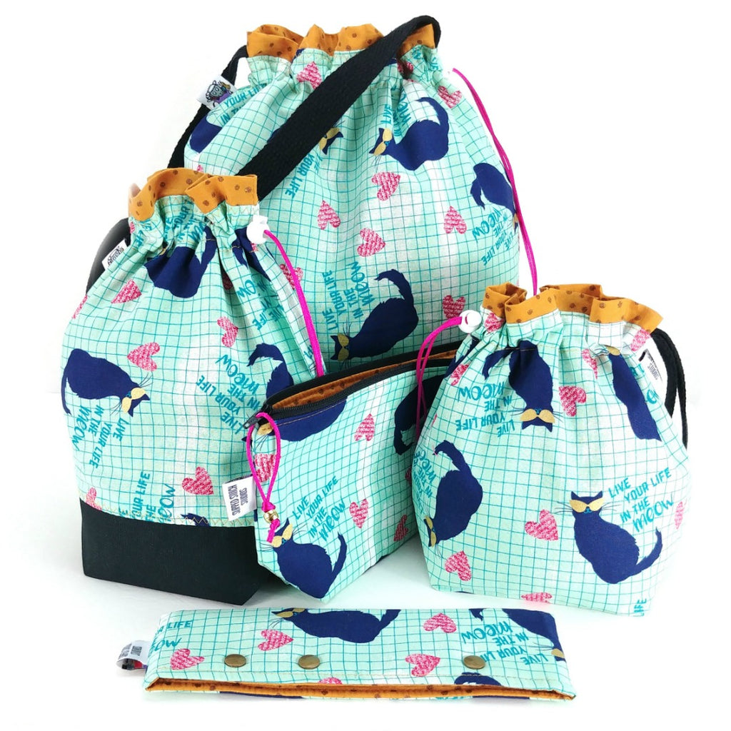 Studio Plus Tote & Tot - Live Your Life in the Meow:Studio Plus Tote,Slipped Stitch Studios:Slipped Stitch Studios
