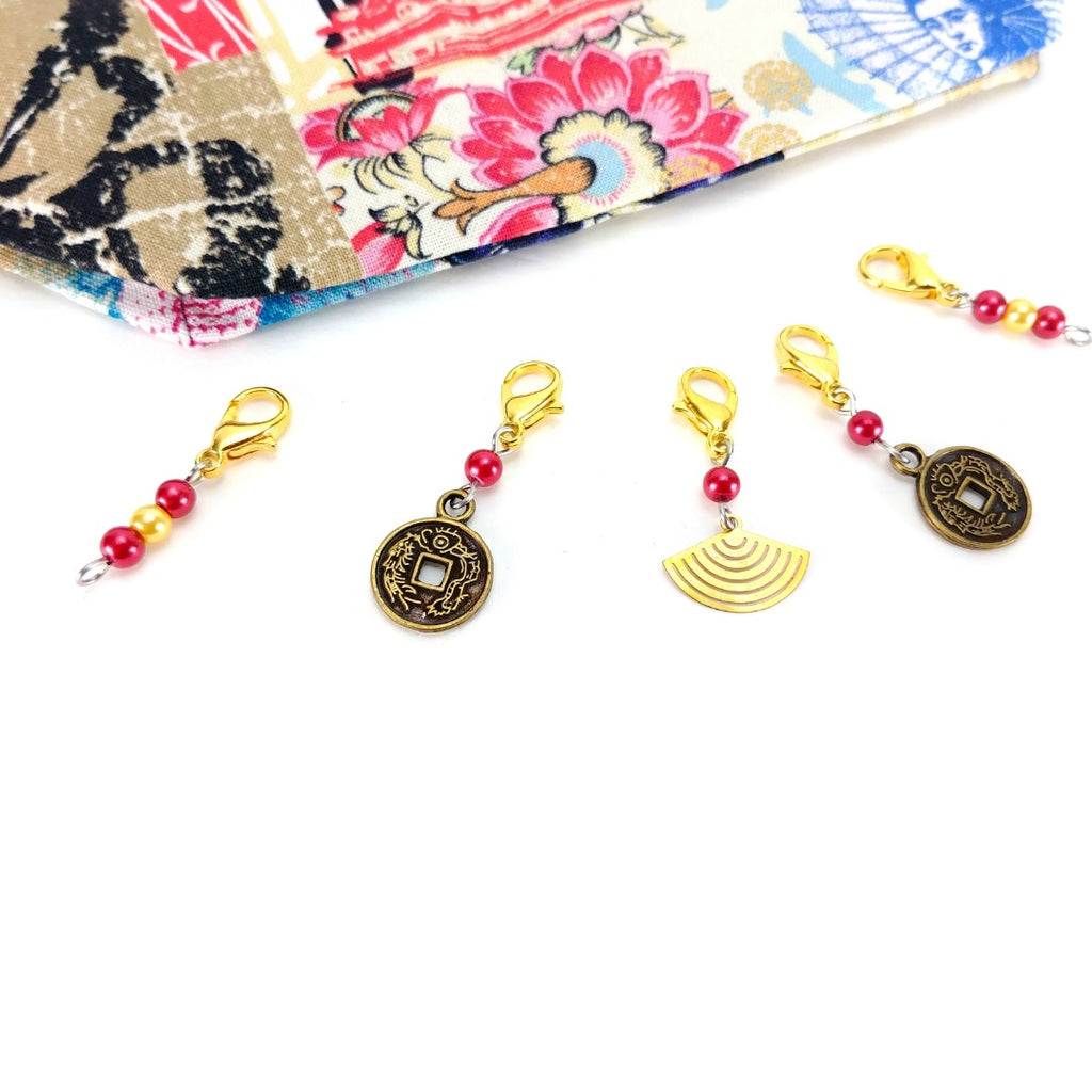 Stitch Markers - Gold Leaf Lotus (Gold):Stitch Markers,Slipped Stitch Studios:Slipped Stitch Studios