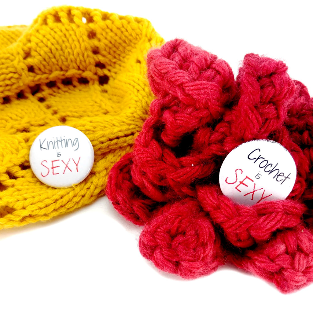 "Pinback Buttons - Choose From ""Knitting is Sexy"" or ""Crochet is Sexy"":Pinback Buttons,Slipped Stitch Studios:Slipped Stitch Studios"