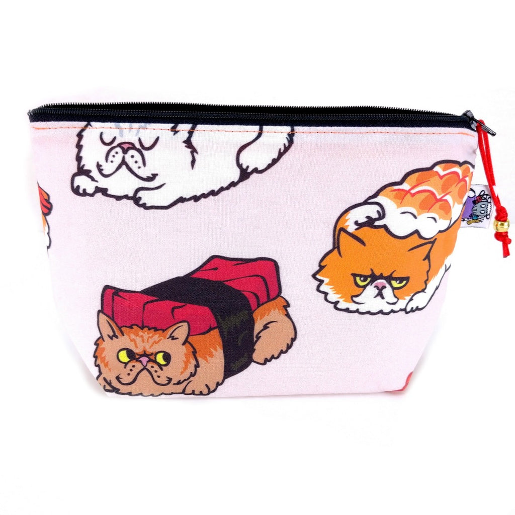 Zipper Notions Pouch - Cats & Dogs - EXTRAS - Sushi Cats:Zipper Notion Pouch,Slipped Stitch Studios:Slipped Stitch Studios