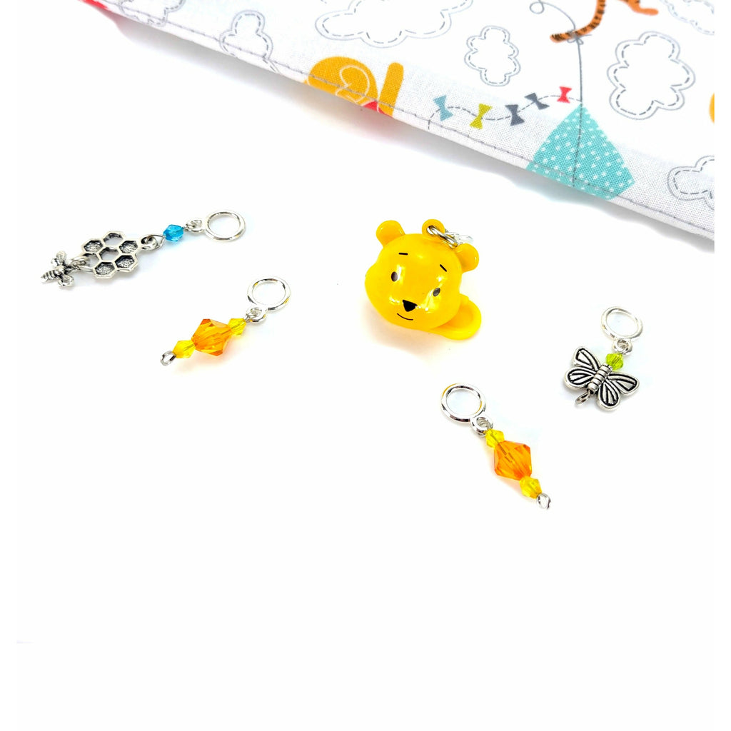 Pooh Bear </br> Stitch Markers </br> Set of 5:Stitch Markers,Slipped Stitch Studios:Slipped Stitch Studios