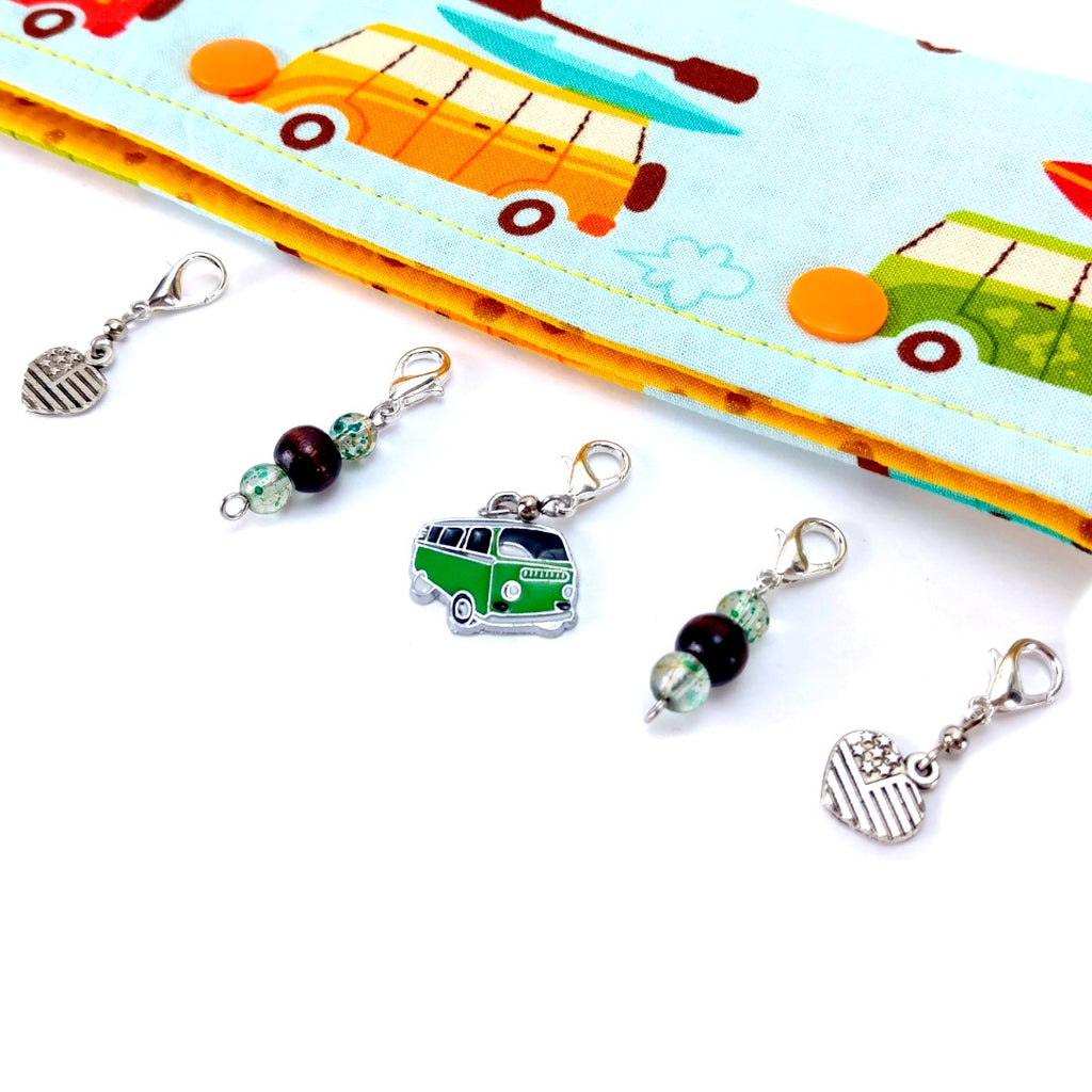 Road Trip </br> Stitch Markers </br> Set of 5:Stitch Markers,Slipped Stitch Studios:Slipped Stitch Studios