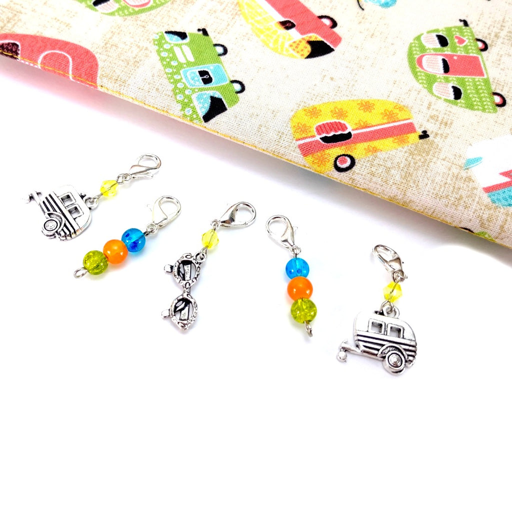 Glamping </br> Stitch Markers </br> Set of 5:Stitch Markers,Slipped Stitch Studios:Slipped Stitch Studios