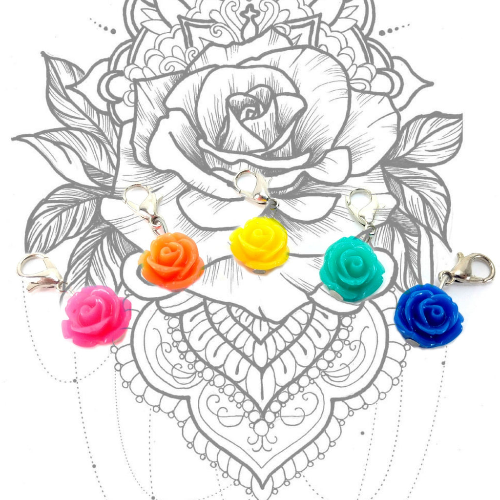Roses (Bright) </br> Stitch Markers </br> Set of 5:Stitch Markers,Slipped Stitch Studios:Slipped Stitch Studios