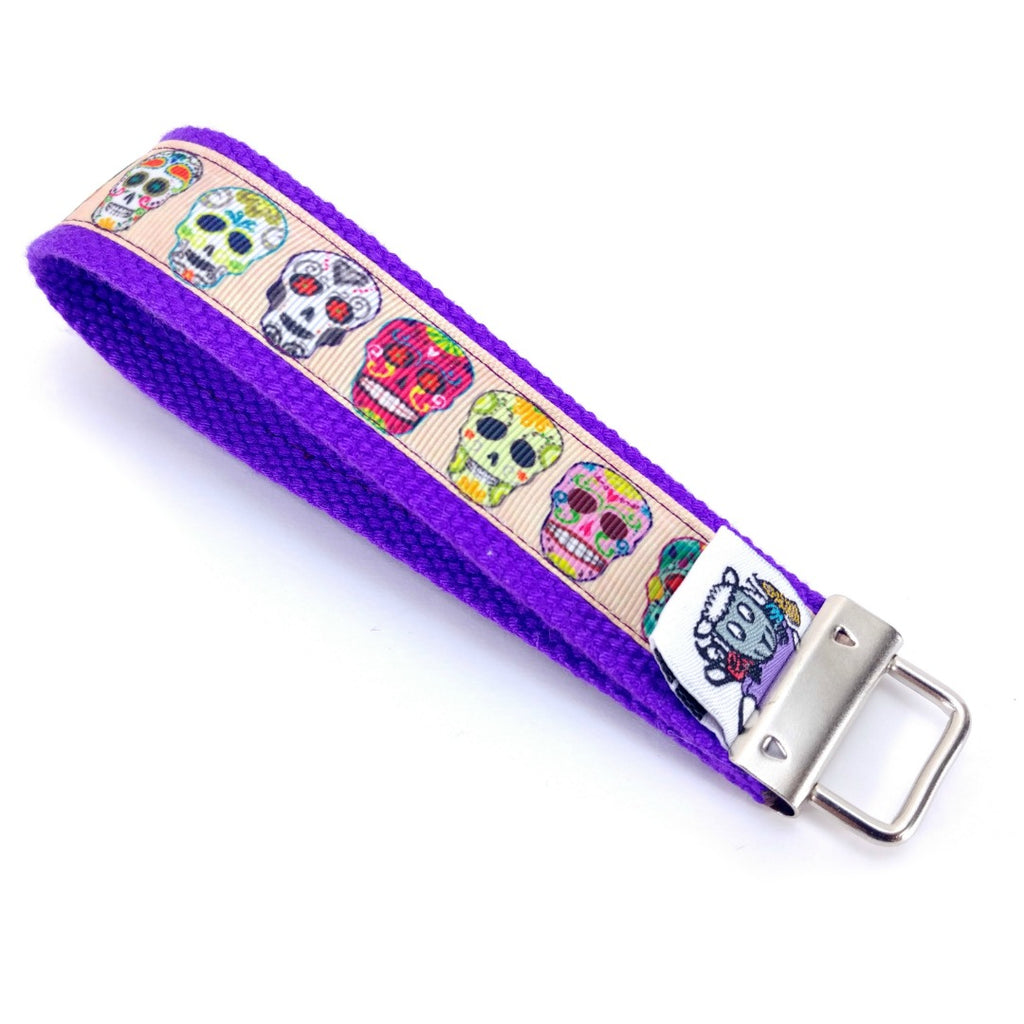 Sugar Skulls Travel Lanyard </br>:Travel Lanyard,Slipped Stitch Studios:Slipped Stitch Studios