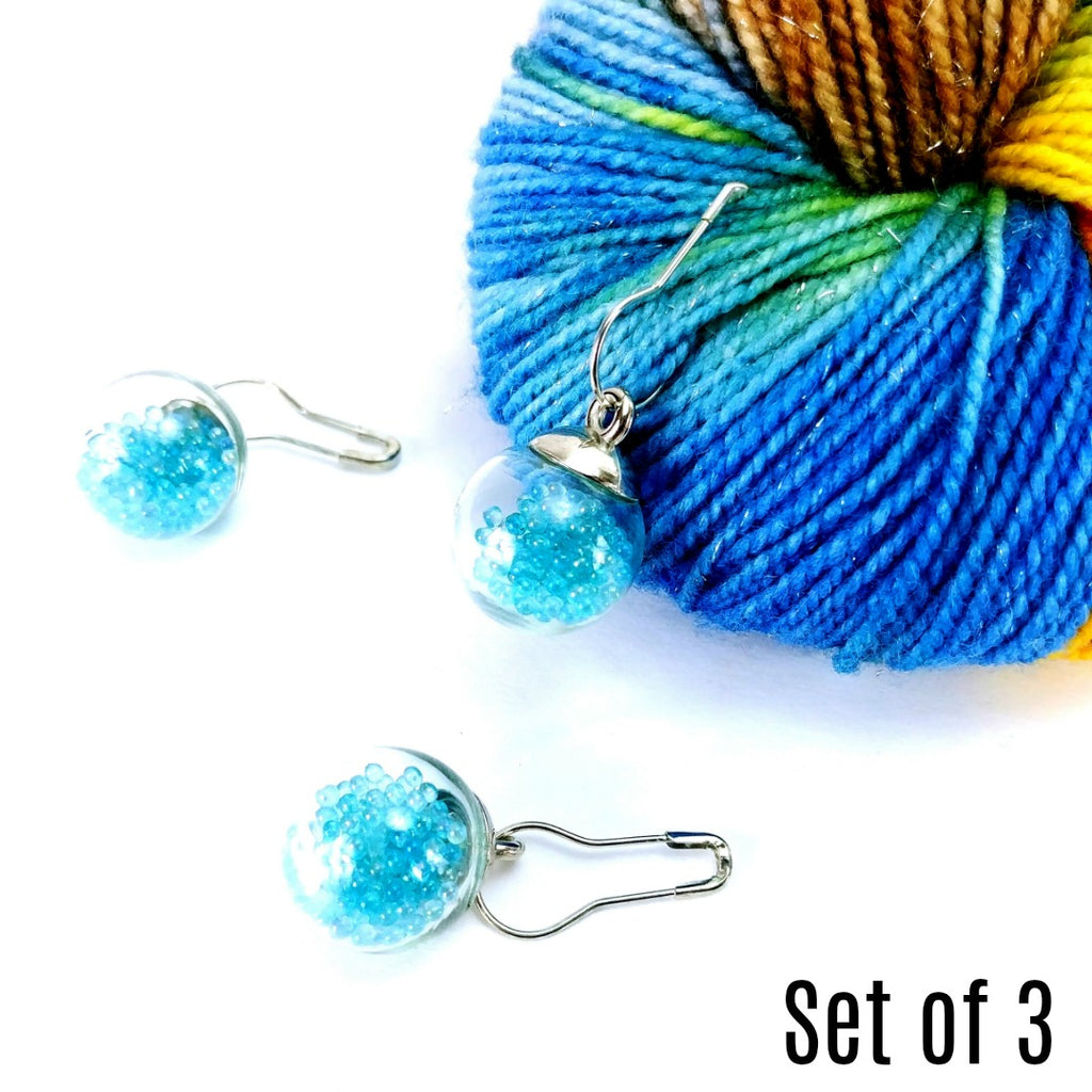 Magic Glow Beads </br> Stitch Markers </br> Set of 3:Stitch Markers,Slipped Stitch Studios:Slipped Stitch Studios