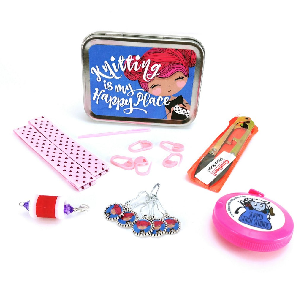 Knitting Girls Pink </br> Crafter's Tool Kit:Tool Box,Slipped Stitch Studios:Slipped Stitch Studios