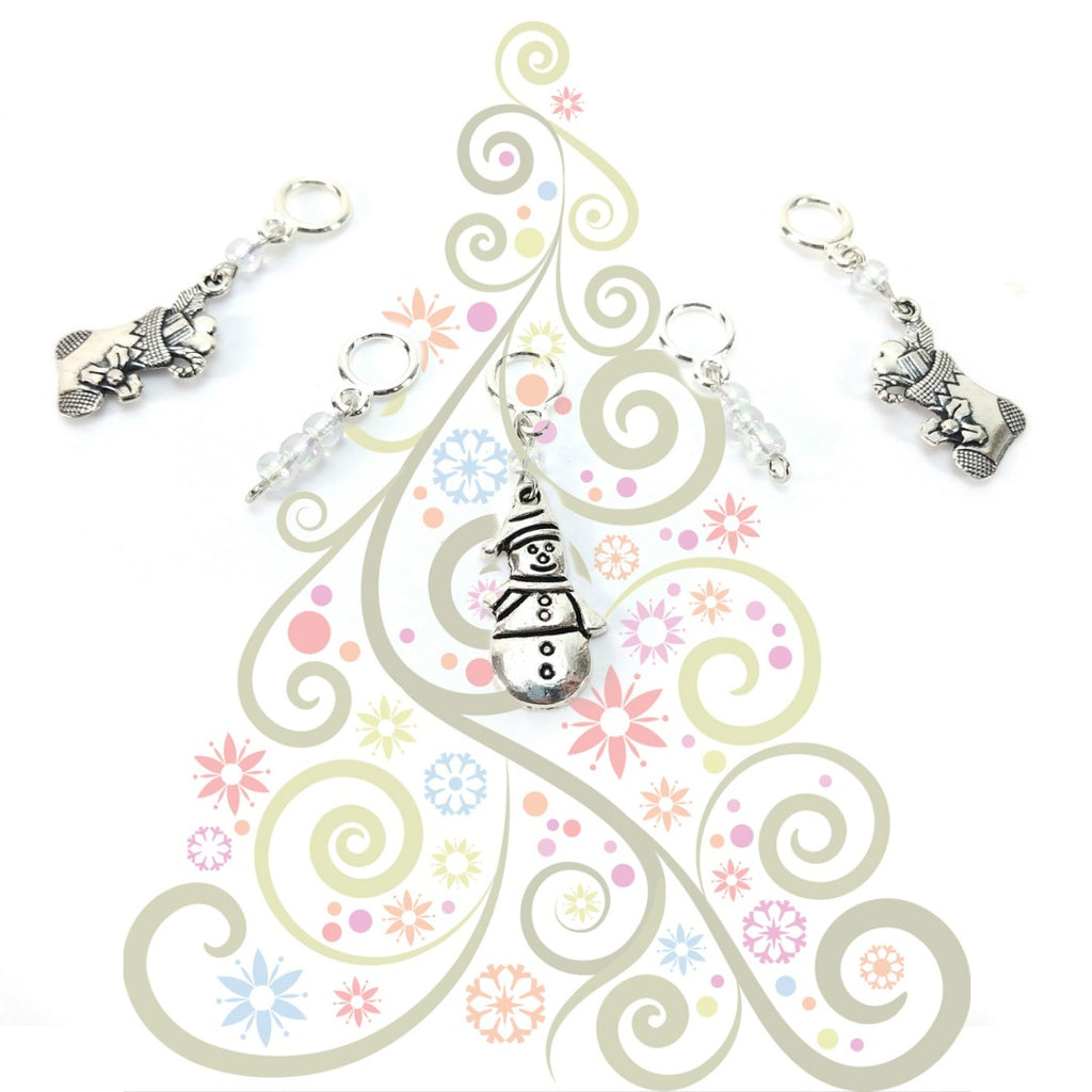 Winter Wonderland </br> Stitch Markers </br> Set of 5:Stitch Markers,Slipped Stitch Studios:Slipped Stitch Studios
