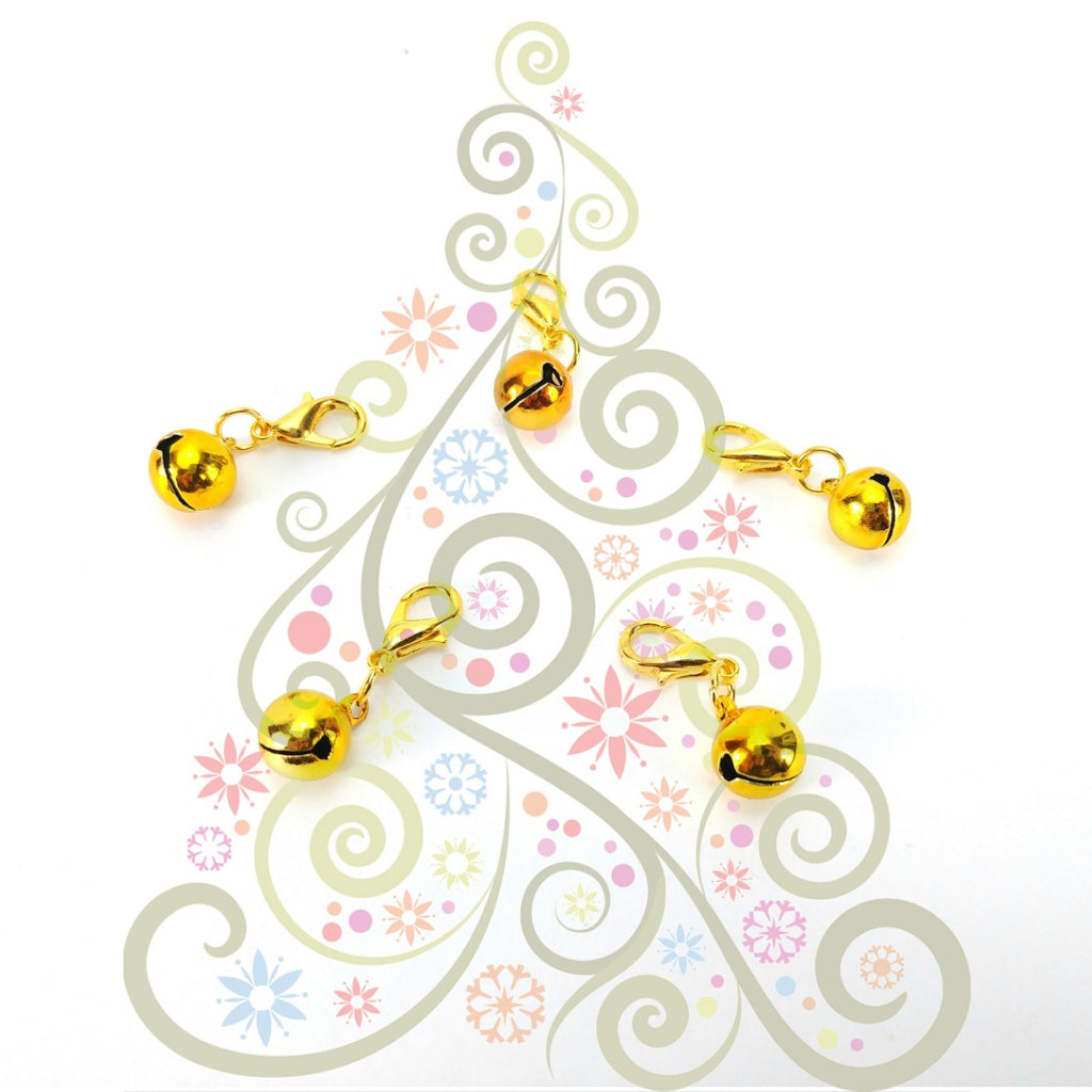 Jingle Bells - Gold </br> Stitch Markers </br> Set of 5:Stitch Markers,Slipped Stitch Studios:Slipped Stitch Studios