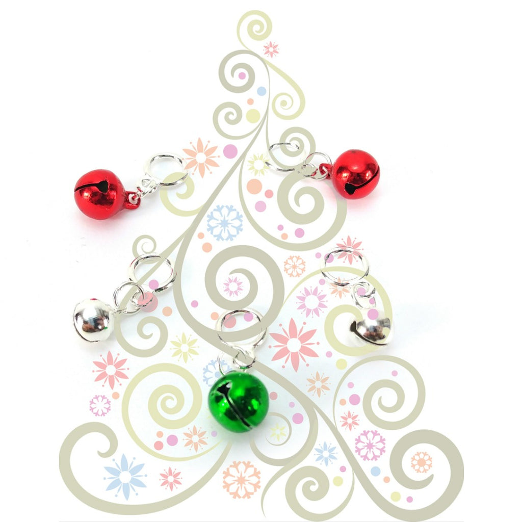 Jingle Bells - Red, Green, Silver </br> Stitch Markers </br> Set of 5:Stitch Markers,Slipped Stitch Studios:Slipped Stitch Studios