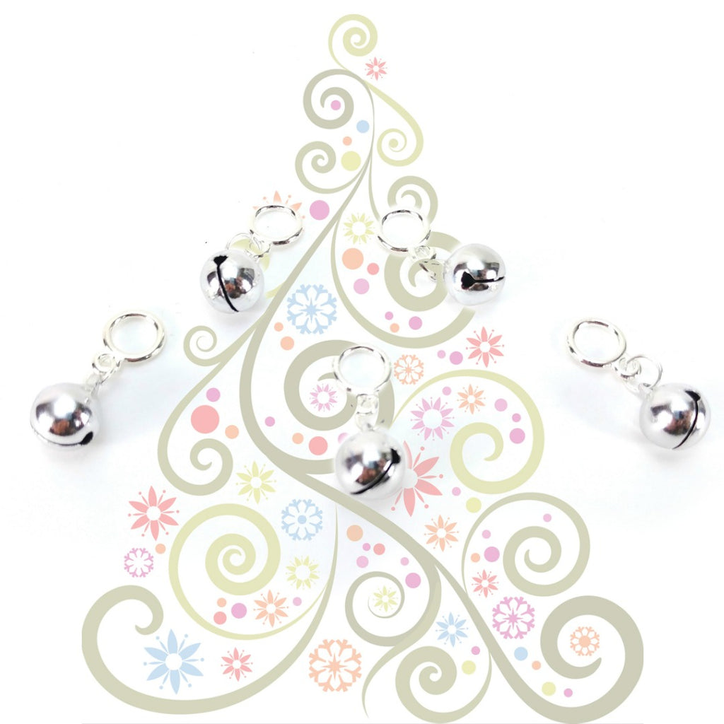 Jingle Bells - Silver </br> Stitch Markers </br> Set of 5:Stitch Markers,Slipped Stitch Studios:Slipped Stitch Studios