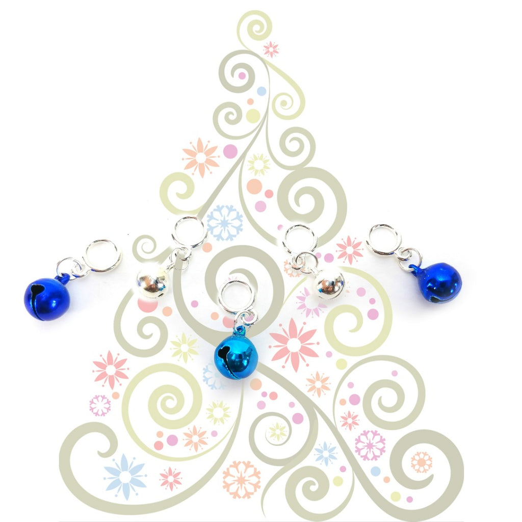 Jingle Bells - Dark Blue, Light Blue, Silver </br> Stitch Markers </br> Set of 5:Stitch Markers,Slipped Stitch Studios:Slipped Stitch Studios