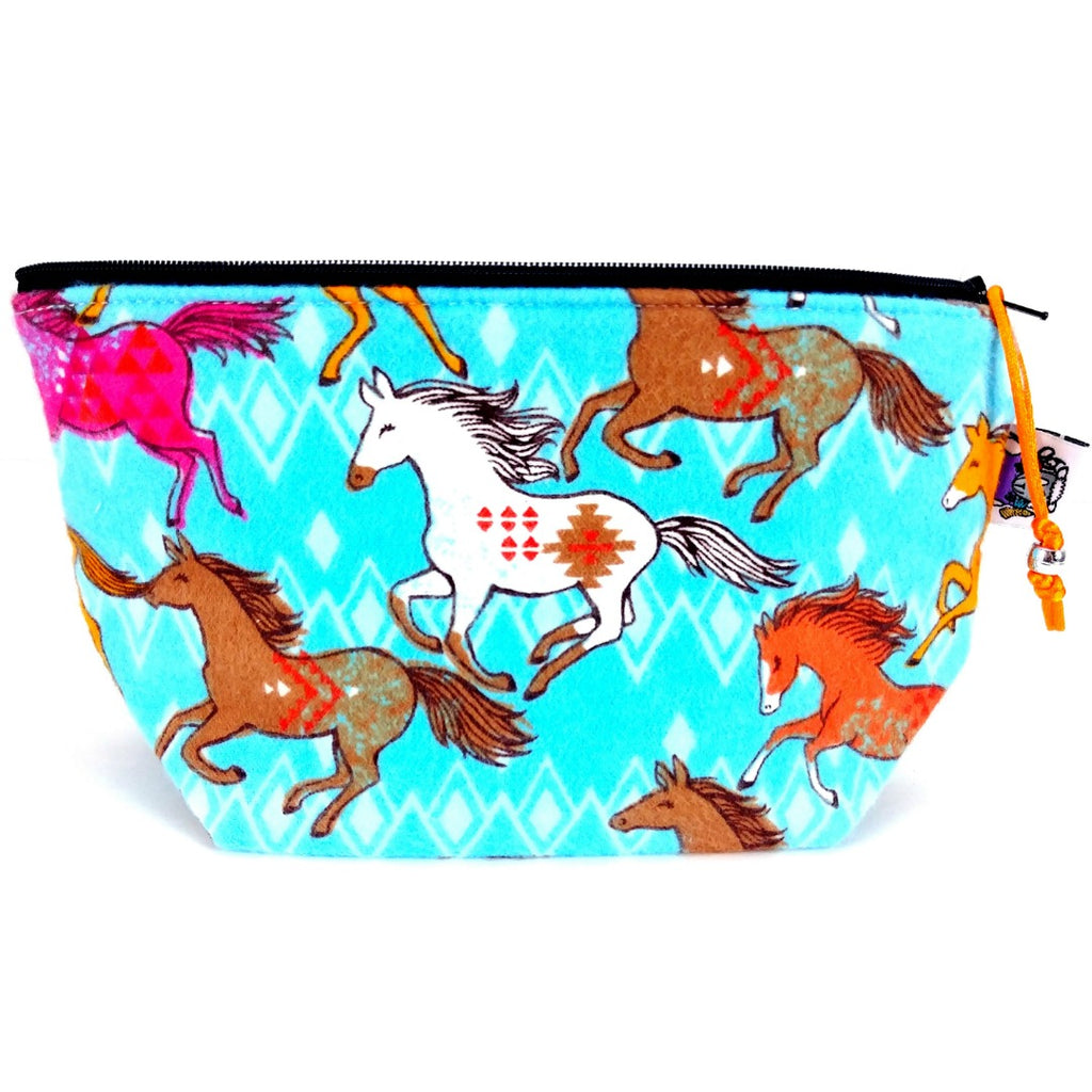 Wild Horses (Flannel) </br> Zipper Notion Pouch:Zipper Notion Pouch,Slipped Stitch Studios:Slipped Stitch Studios