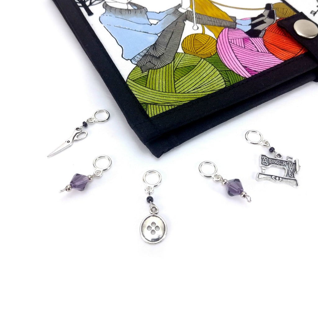 Ghastlies - Crafty </br> Stitch Markers </br> Set of 5:Stitch Markers,Slipped Stitch Studios:Slipped Stitch Studios