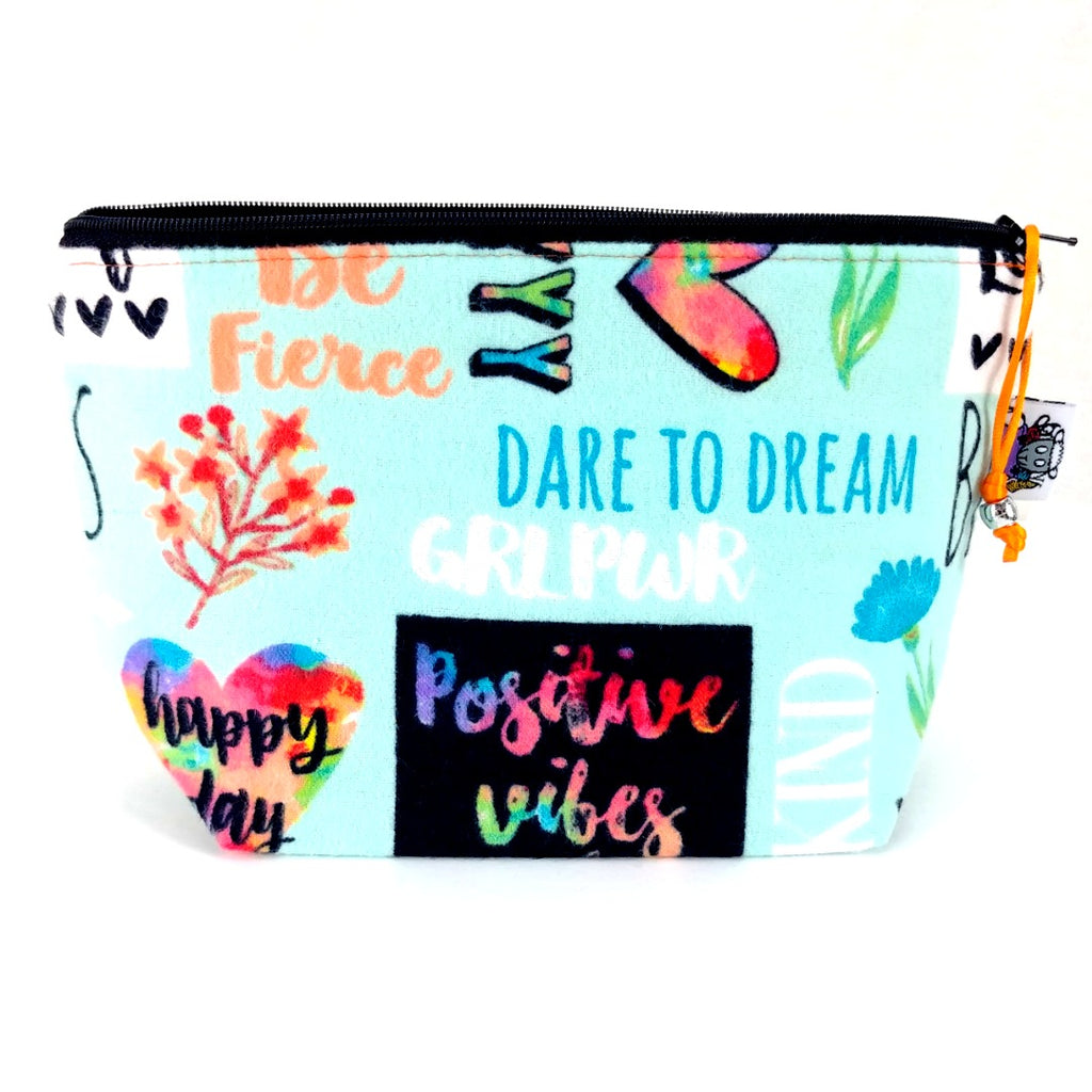 Good Vibes (Flannel) </br> Zipper Notion Pouch:Zipper Notion Pouch,Slipped Stitch Studios:Slipped Stitch Studios