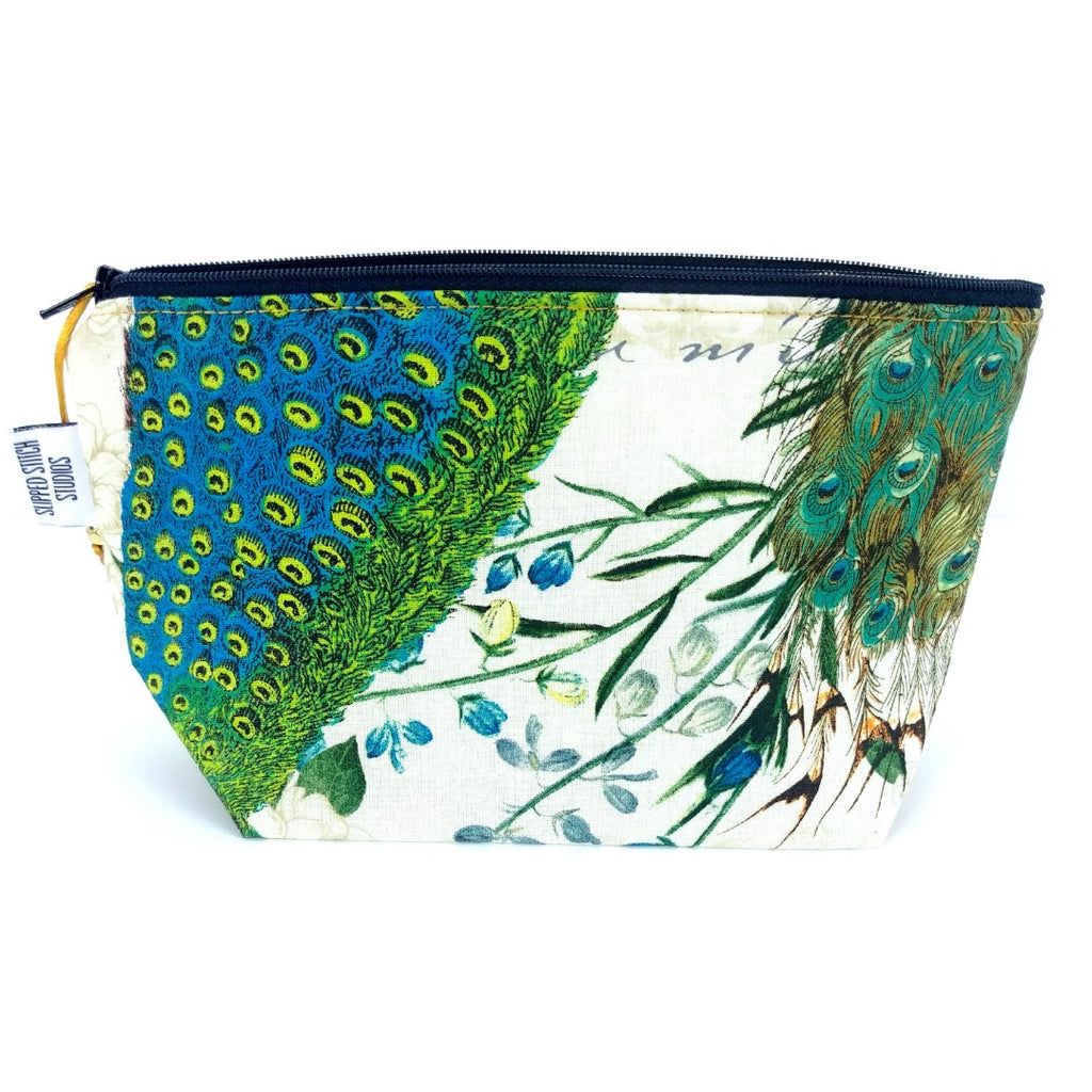 Peacock 2 </br> Zipper Notion Pouch:Zipper Notion Pouch,Slipped Stitch Studios:Slipped Stitch Studios
