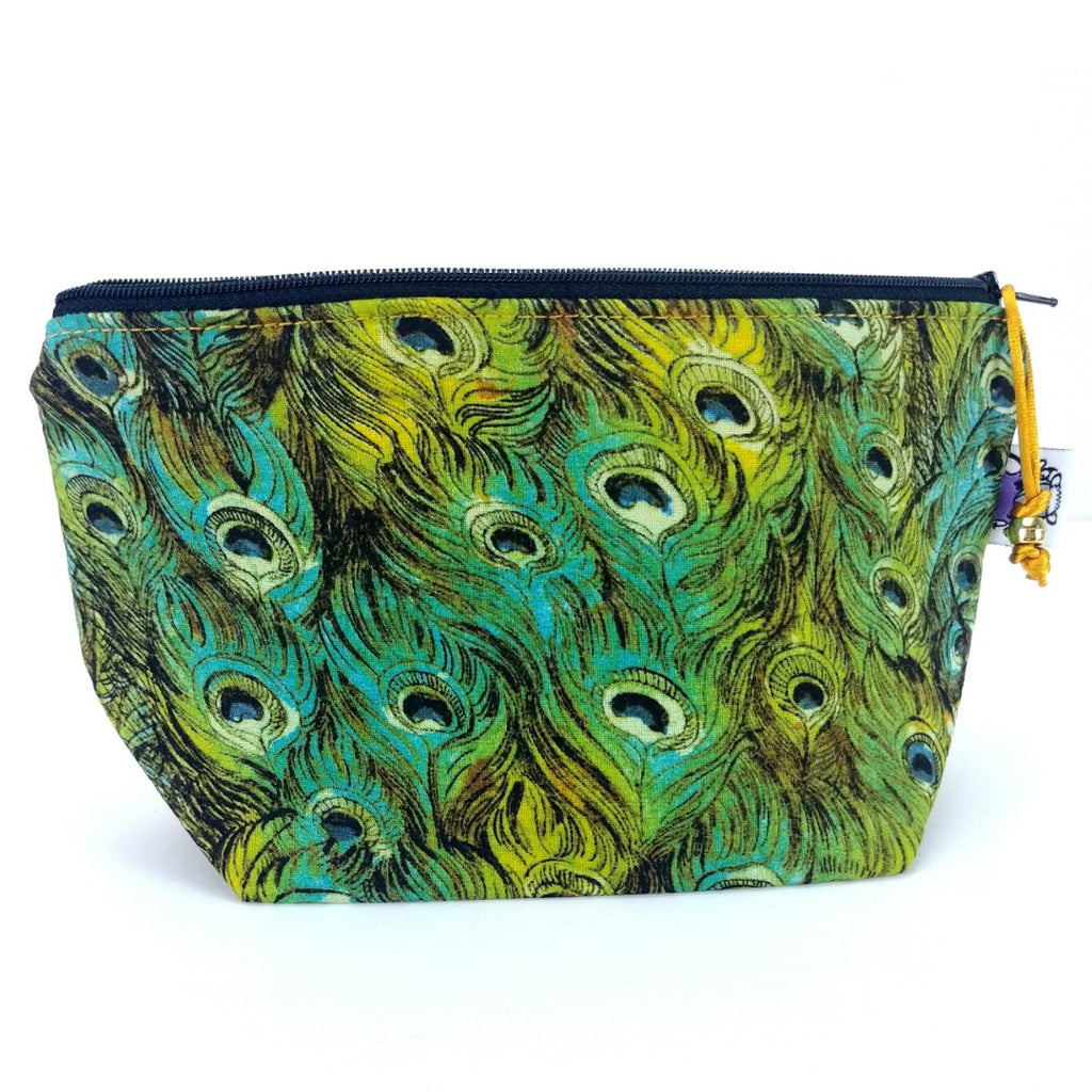 Peacock 1 </br> Zipper Notion Pouch:Zipper Notion Pouch,Slipped Stitch Studios:Slipped Stitch Studios
