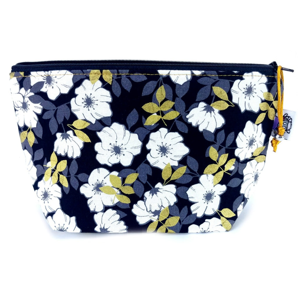 Gold Leaf Floral </br> Zipper Notion Pouch:Zipper Notion Pouch,Slipped Stitch Studios:Slipped Stitch Studios