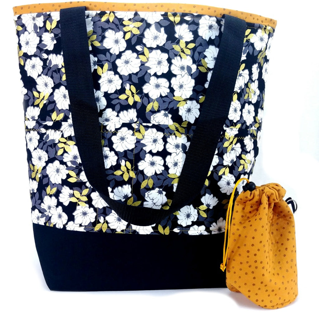 Gold Leaf Floral </br> XL Project Bag </br> Studio Tote & Tot:XL Project Bag,Slipped Stitch Studios:Slipped Stitch Studios