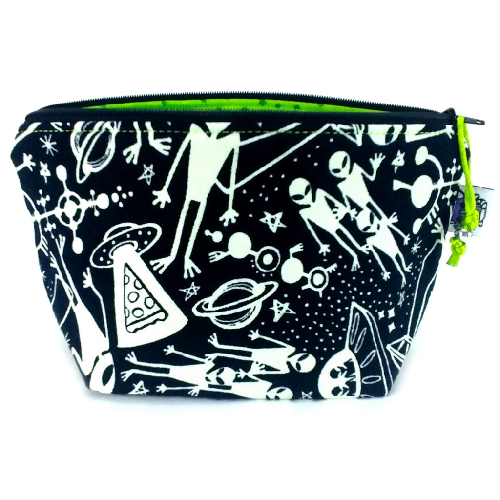 Aliens (Glow-in-the-Dark Flannel) </br> Zipper Notion Pouch:Zipper Notion Pouch,Slipped Stitch Studios:Slipped Stitch Studios