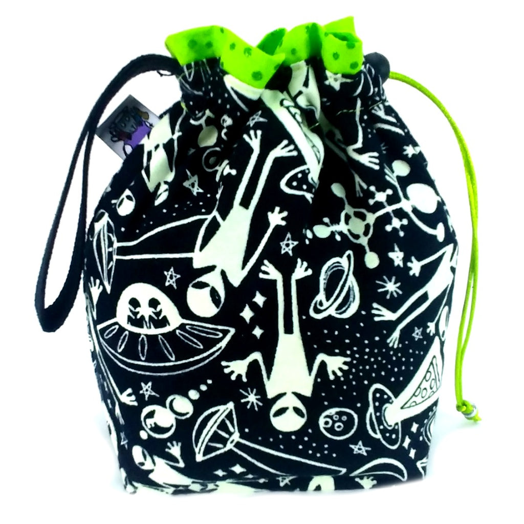Aliens (Glow-in-the-Dark Flannel) </br> Small Project Bag:Small Project Bag,Slipped Stitch Studios:Slipped Stitch Studios