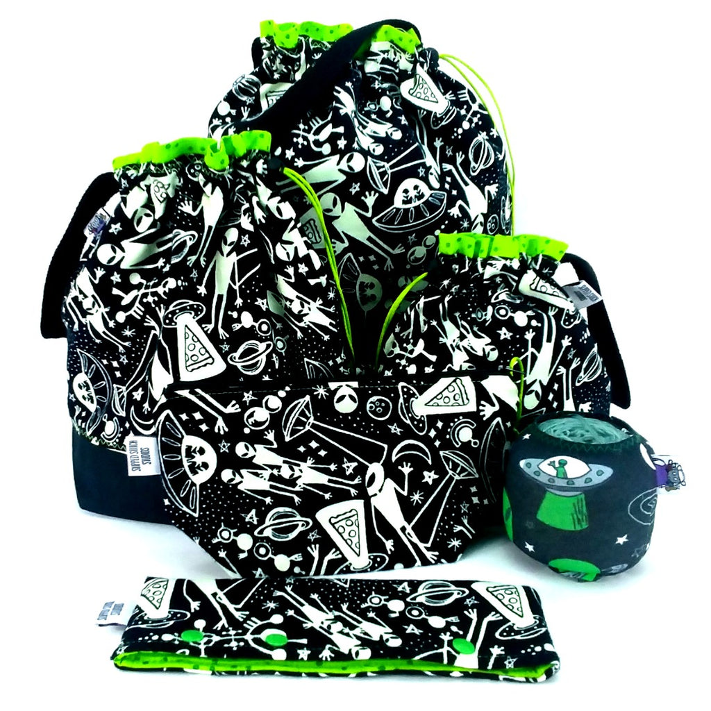 Aliens (Glow-in-the-Dark Flannel) </br> Large Project Bag:Large Project Bag,Slipped Stitch Studios:Slipped Stitch Studios