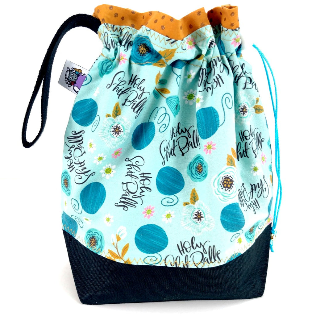 NEW* Holy S* Balls </br> Medium Project Bag:Medium Project Bag,Slipped Stitch Studios:Slipped Stitch Studios